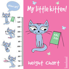 Kids height chart with cute cats,