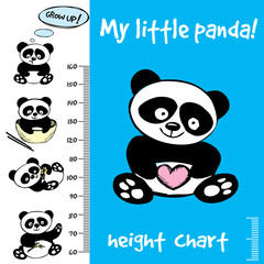 Kids height chart.Hand drawn panda