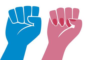 Poing - femme - homme - égalité - manifestation -discrimination - revendication