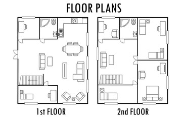 Architecture plan with furniture. House First and second floor plan