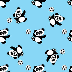 Seamless pattern with panda play soccer
