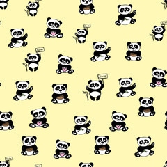 Seamless pattern with cute panda bear