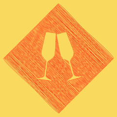 364aba2b38 Sparkling champagne glasses. Vector. Red scribble icon obtained as a result  of subtraction rhomb