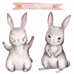 Cute bunny watercolor set.