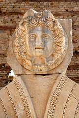 Libya, Tripoli, Leptis Magna, Murqub District, Khoms, Severan Forum, Close-up of Medusa, Roman archaeological site Unesco World Heritage Site