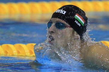 Gyurta of Hungary competes in the men's 400m individual medley heats during the 2012 European Swimming Championships in Debrecen