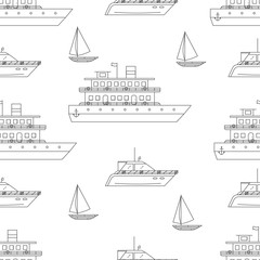 Water transport vector seamless pattern.