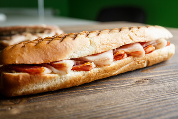 Toasted baguette sandwich with ham
