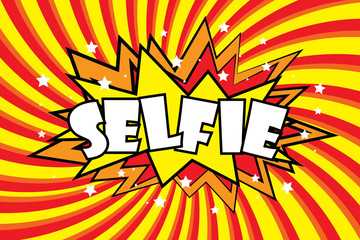 SELFIE Comic sound effects in pop art style