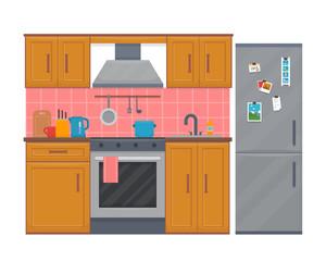 Kitchen with furniture set.