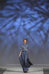 A model presents a creation by Ukrainian designer Poustovit during Ukrainian Fashion Week in Kiev