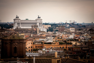 Rome city landscape in dusk light