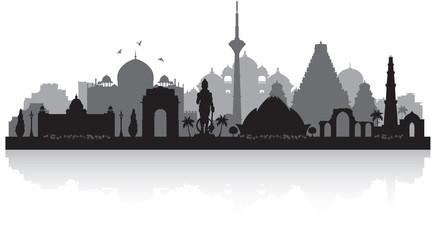 Delhi India city skyline silhouette