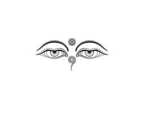 Graphic illustration of Buddha's eyes.