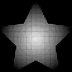 Circle, Dots half tone pattern inside star shape