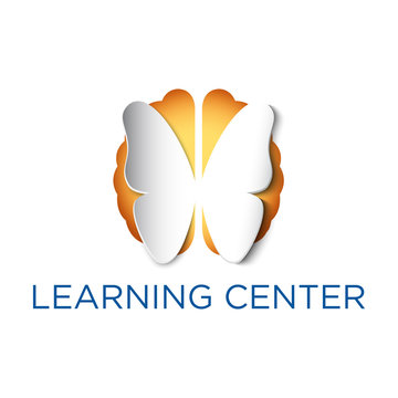 White butterfly icon cutout from yellow brain background in vector format. Conceptual education and learning or non-profit logo or design elements