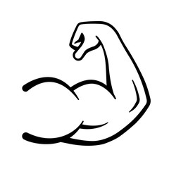 Strong power icon, muscle arms, bodybuilding icon - stock vector.