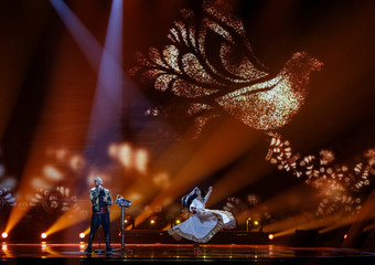 "Hungary's Joci Papai performs with the song ""Origo"" during the Eurovision Song Contest 2017 Grand Final Dress rehearsal 1 at the International Exhibition Centre in Kiev"