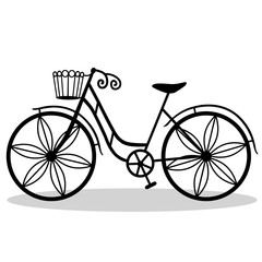 Bicycle with decorative wheels.