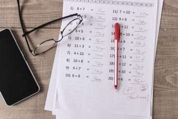Math Test On Teacher Desk