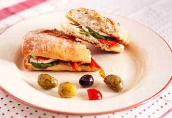 Italian Vegetarian Panini Sandwich