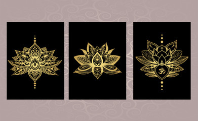 Красивый набор татуировок - лотос, мандала