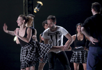 """French dancer and choreographer Benjamin Millepied directs dancers during the rehearsal of """"Hearts and Arrows"""" creation for L.A. Dance Project company at the Theatre du Chatelet in Paris"""