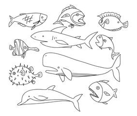 fish hand drawn vector line art set icons art illustration