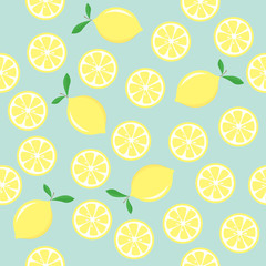 Seamless pattern with lemons. Vector.