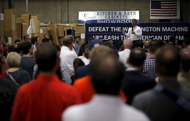 U.S. Republican presidential candidate Senator Rand Paul of Kentucky speaks during a campaign stop at Royal Kitchen and Bathroom Cabinets in Niles, Illinois