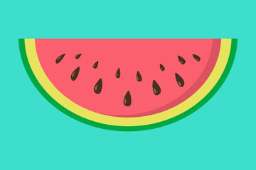 Silce of cute watermelon on blue background. Vector.