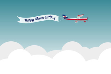 Plane with banner Happy memorial day. Vector illustration