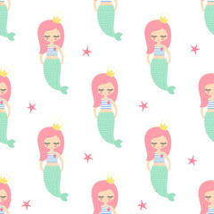 Cute pink hair mermaid girl with starfish seamless pattern on white background. Vector sea background for kids. Design for fabric, textile, decor