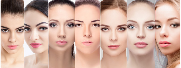 set of portraits of beautiful female face with natural makeup.