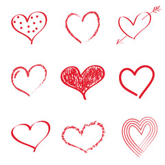 Set of hand drawn hearts on white background. Vector.