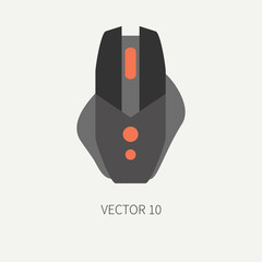Plain flat color vector computer part icon mouse. Cartoon. Digital gaming and business office pc desktop device. Innovation gadget. IT. Internet. Illustration and element for your design and wallpaper