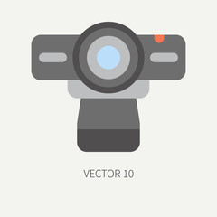 Plain flat color vector computer part icon web camera. Cartoon. Digital gaming and business office pc desktop device. Innovation gadget. Internet. Illustration and element for your design, wallpaper.