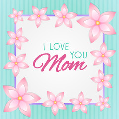 Mother's Day design with glossy flowers. Vector.