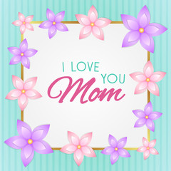 Shiny card with flowers for Mother's Day. Vector.