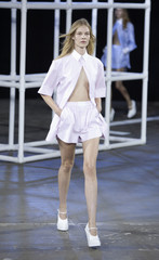 A model presents creation from Alexander Wang Spring/Summer 2014 collection during Fashion Week in New York