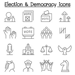 Election & Democracy icon set in thin line style