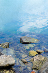 Stepping stones in blue sea
