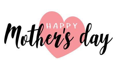 Happy Mother's Day Heart illustration vector Calligraphy Background