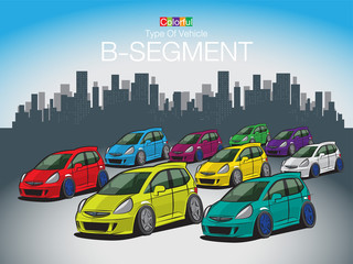 The Colorful Type Of Vehicle B-SEGMENT Created vector art image illustration