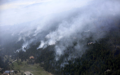 An aerial view of the Black Forest fire with the Rocky Mountains in the background in Black Forest, Colorado