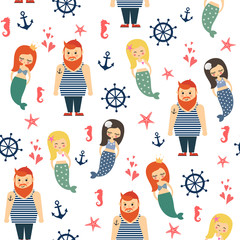 Mermaids girls with sailor, anchor, starfish seamless pattern on white background. Vector sea background for kids. Child drawing style cartoon underwater illustration.Design for fabric, textile, decor