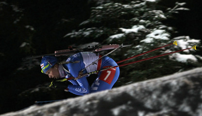 Gontier of Italy competes in the women's 4x6 km relay during the International Biathlon Union World Championships in Nove Mesto