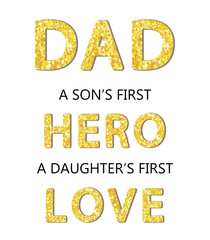 Cute Father's Day card with golden glitter letters