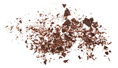Pile chopped, milled chocolate isolated on white, top view