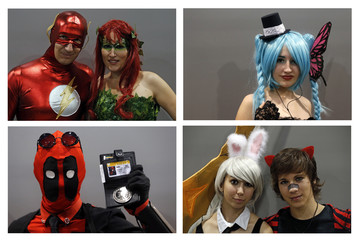 A combination of four pictures shows participants dressed in superhero and heroic fantasy costumes posing during the first edition of the HeroFestival in Marseille